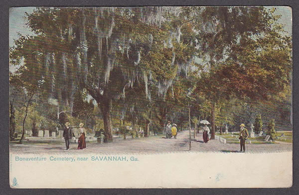 A postcard showing the history of Bonaventure Cemetery