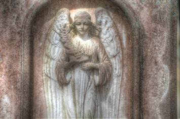 One of the headstones with symbolism designed into it