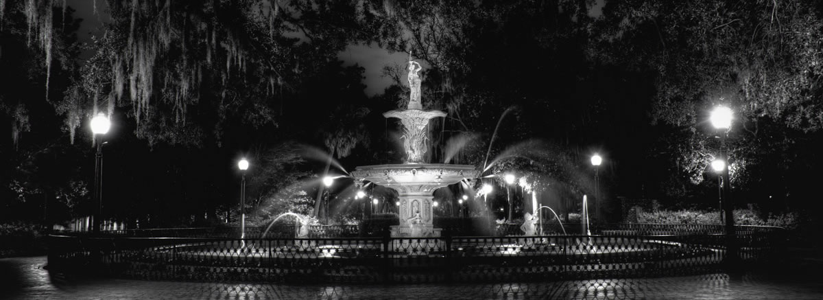 The Fountain in Forsyth Park at Night