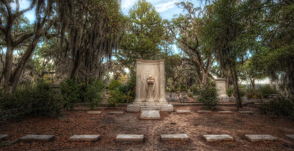 One of the famous graves at Bonaventure Cemetery, a famous cemetery popular with tour companies.
