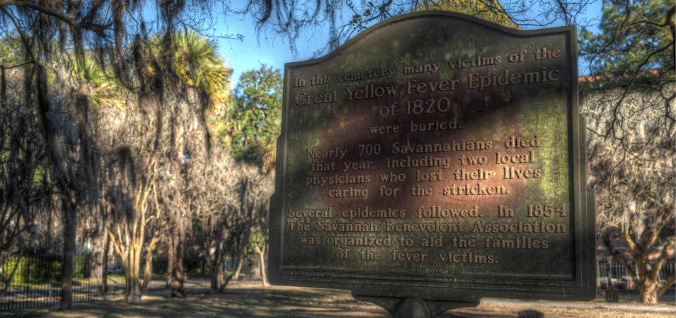 The historic marker, in Colonial Park Cemetery, for the Yellow Fever mass grave that can be found here..