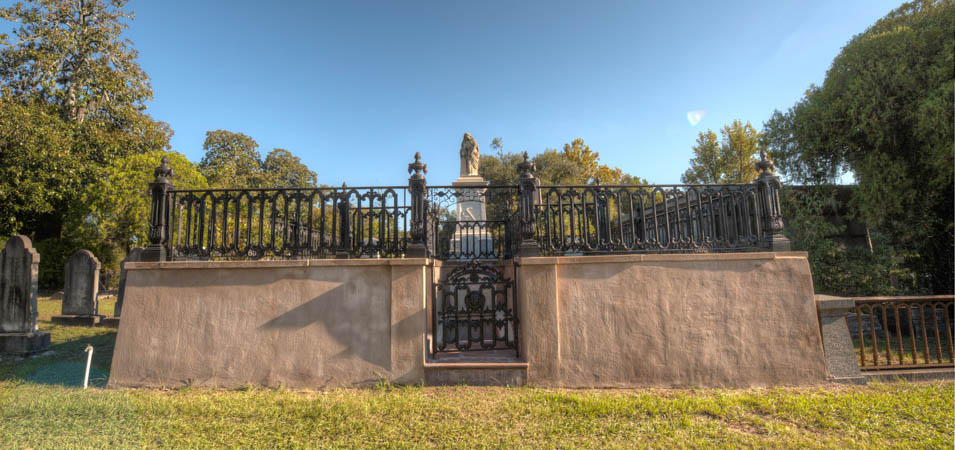 One of the many family burial plots you'll find in this historic cemetery..