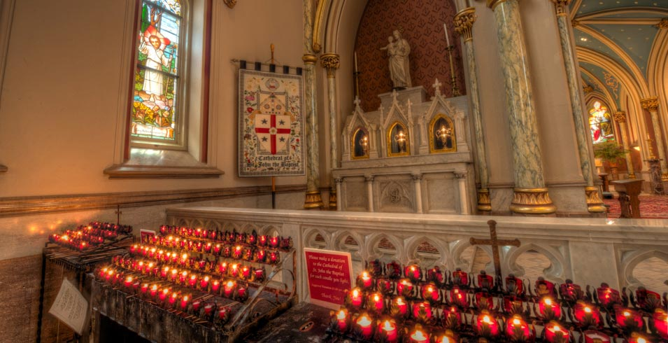 Offering Candles inside of the Cathderal of St. John the Baptist