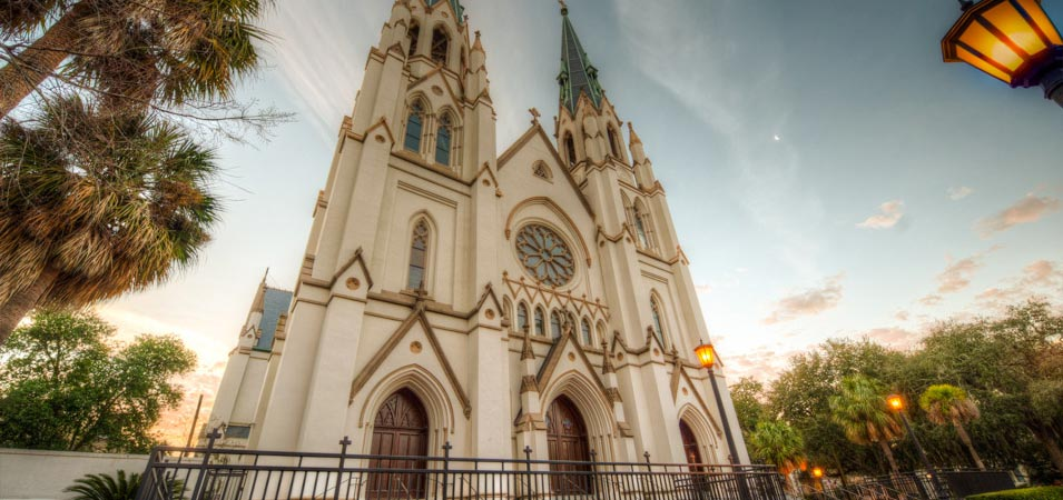 The Cathderal of St. John the Baptist, the historical church on Lafayette Square in Savannah