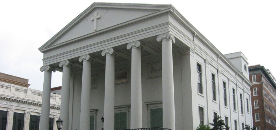 The First Christ Church, which can be found on the South-East Trust Lot of Johnson Squre