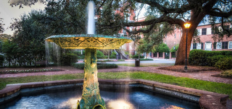 The Wormsloe Fountain, on Columbia Square