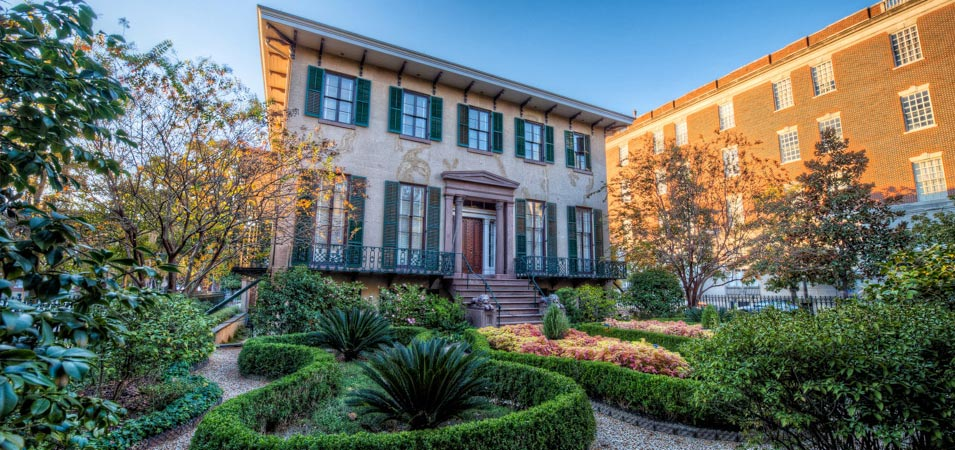 The Andrew Low House, one of the historic homes which a visitor to Savannah will find on Lafayette Square.