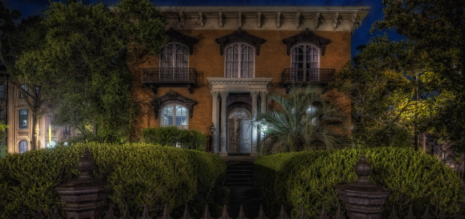 The Mercer-Williams House at night