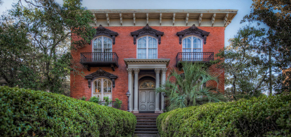 The Mercer-Williams House, one of Savannah's historic homes, made famous by the book Midnight in the Garden of Good and Evil.