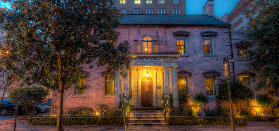 The Pink House, one of Savannah's best restaurants, can be found on Reynolds Square.