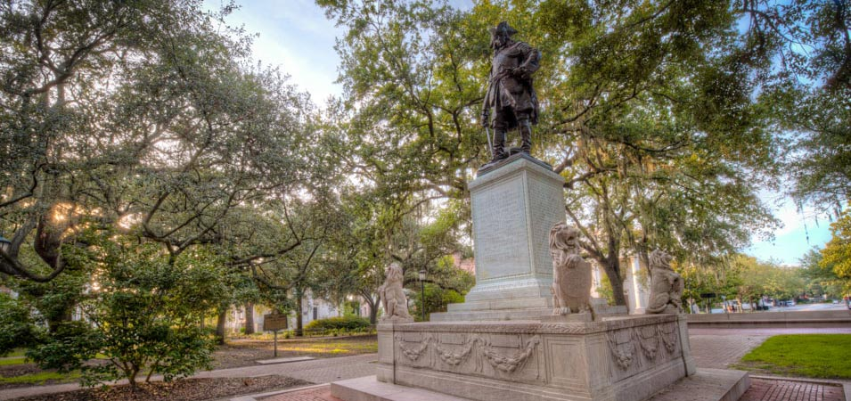 The Oglethorpe Statue in Chippewa Square