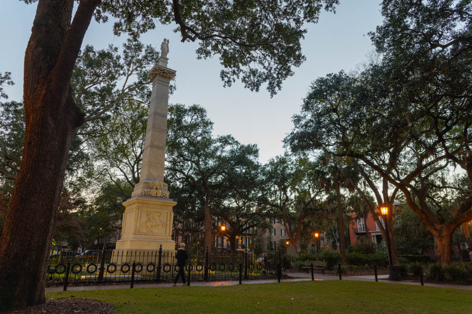 The Pulaski Monument, which can be found in Monterey Square, Savannah Georgia